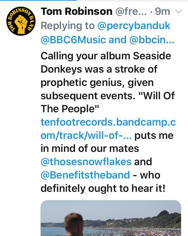 Tweet Tom Robinson BBC6Music - Percy